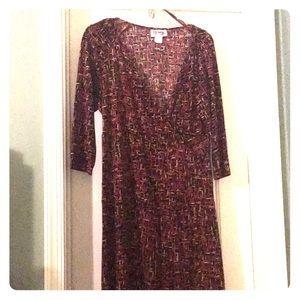 Burgundy and black patterned dress